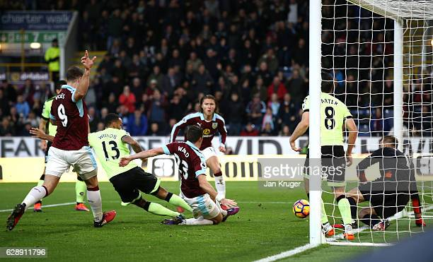 Stephen Ward of Burnley scores his sides second goal during the Premier League match between Burnley and AFC Bournemouth at Turf Moor on December 10...