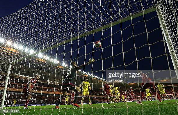 Stephen Ward of Burnley shoots past Tomas Meijias Goalkeeper of Middlesbrough for the winning goal during the Emirates FA Cup third round match...