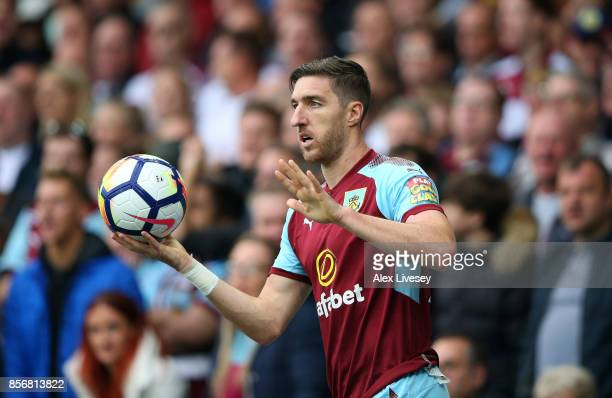 Stephen Ward of Burnley takes a throw in during the Premier League match between Everton and Burnley at Goodison Park on October 1 2017 in Liverpool...