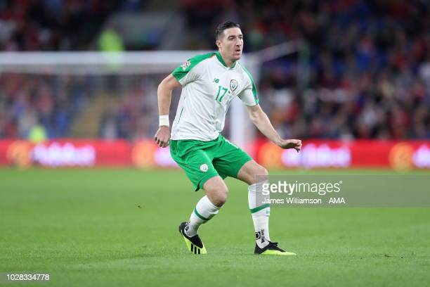 Stephen Ward of Ireland during the UEFA Nations League B group four match between Wales and Irland at Cardiff City Stadium on September 6 2018 in...