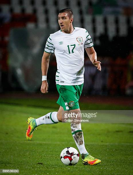 Stephen Ward of Ireland in action during the FIFA 2018 World Cup Qualifier between Serbia and Ireland at stadium Rajko Mitic on September 5 2016 in...