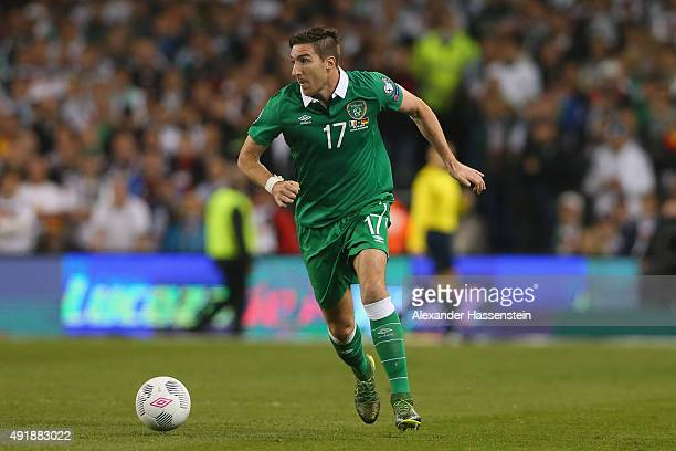 Stephen Ward of Ireland runs with the ball during the UEFA EURO 2016 Qualifier group D match between Republic of Ireland and Germany at the Aviva...