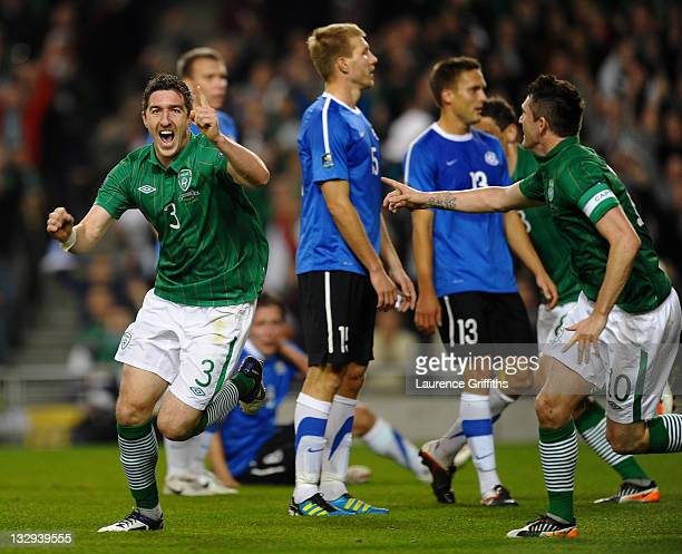 Stephen Ward of Republic of Ireland celebrates scoring the opening goal during the EURO 2012 Qualifier Play Off Second Leg match between Republic of...