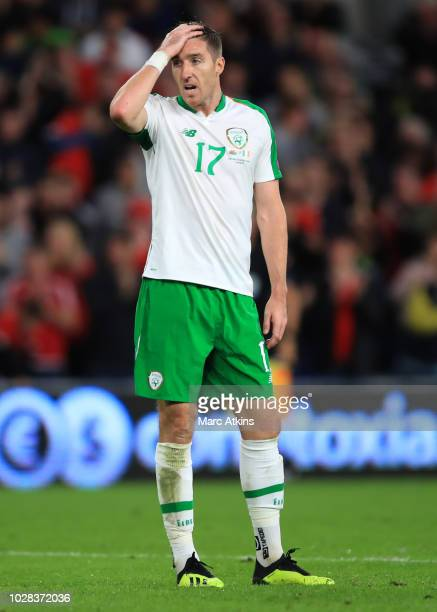 Stephen Ward of Republic of Ireland during the UEFA Nations League B group four match between Wales and Republic of Ireland at Cardiff City Stadium...