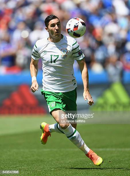 Stephen Ward of Republic of Ireland in action during the UEFA Euro 2016 match between France and Republic of Ireland at Stade des Lumieres on June 26...