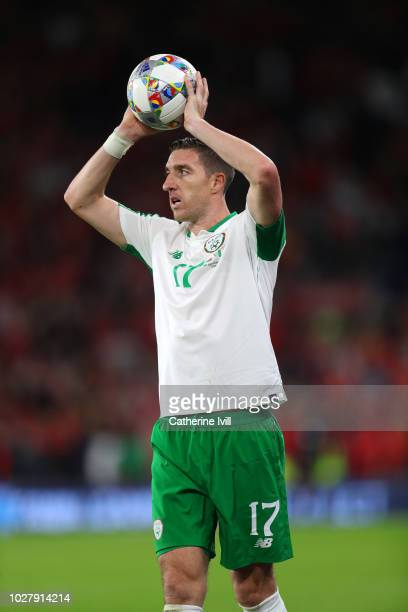 Stephen Ward of Republic of Republic of Ireland takes a throw in during the UEFA Nations League B group four match between Wales and Republic of...
