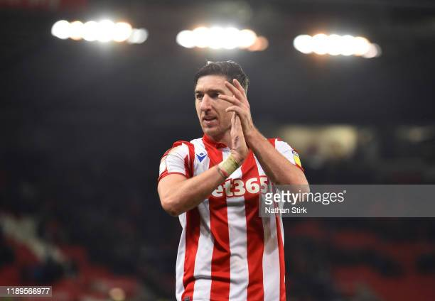 Stephen Ward of Stoke City applauds the fans after the Sky Bet Championship match between Stoke City and Wigan Athletic at Bet365 Stadium on November...
