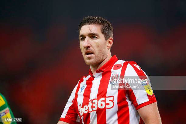 Stephen Ward of Stoke City looks on during the Sky Bet Championship match between Stoke City and West Bromwich Albion at Bet365 Stadium on November...