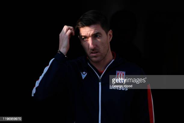 Stephen Ward of Stoke City reacts ahead of the Sky Bet Championship match between Huddersfield Town and Stoke City at John Smith's Stadium on January...