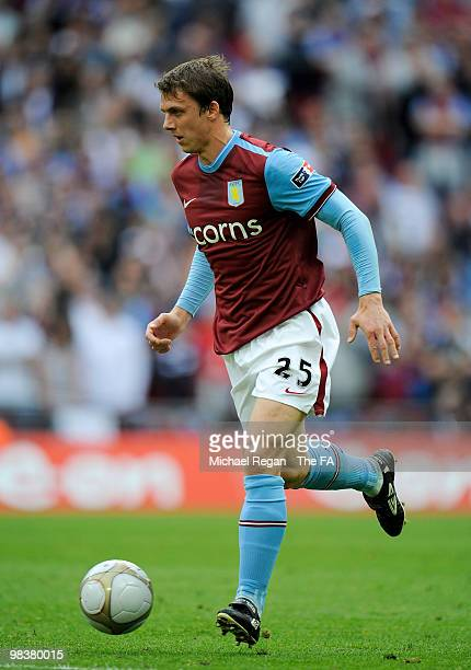 Stephen Warnock of Aston Villa in action during the FA Cup sponsored by E.ON Semi Final match between Aston Villa and Chelsea at Wembley Stadium on...