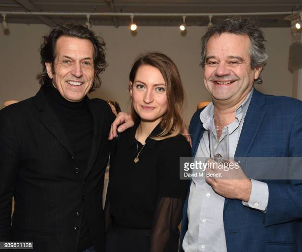 Stephen Webster Amy Webster and Mark Hix attend a private view of Art Wars East at Hix Art on March 29 2018 in London England