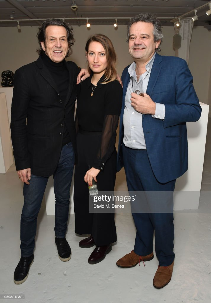 Stephen Webster, Amy Webster and Mark Hix attend a private view of Art Wars East at Hix Art on March 29, 2018 in London, England.