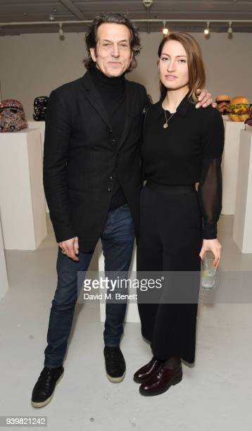 Stephen Webster and Amy Webster attend a private view of Art Wars East at Hix Art on March 29 2018 in London England