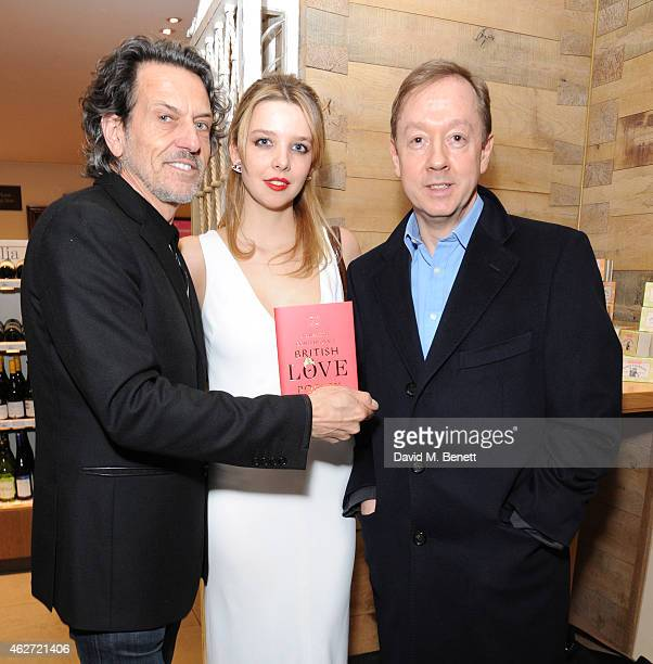 Stephen Webster Greta Bellamacina and Geordie Greig attends the launch of A Collection Of Contemporary British Love Poetry at Fortnum Mason on...