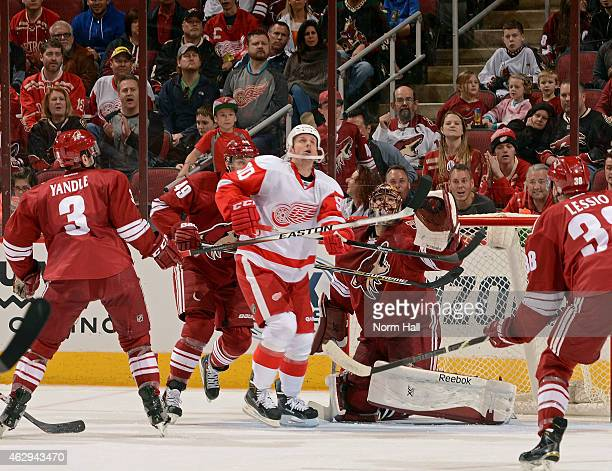 Stephen Weiss of the Detroit Red Wings and goaltender Mike Smith of the Arizona Coyotes keep their eye on the puck as it deflects into the air during...
