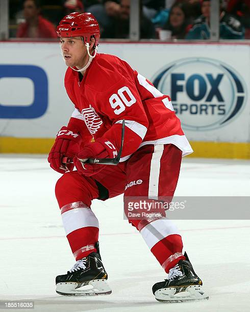 Stephen Weiss of the Detroit Red Wings follows the play against the San Jose Sharks during an NHL game at Joe Louis Arena on October 21 2013 in...