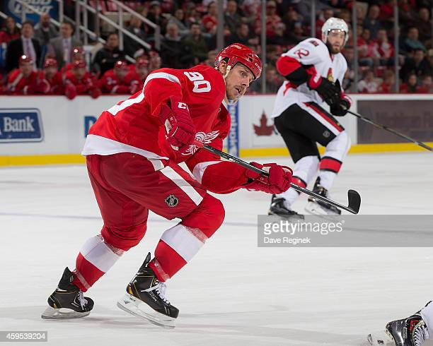 Stephen Weiss of the Detroit Red Wings follows the play against the in the second period during a NHL game against the Ottawa Senators on November 24...