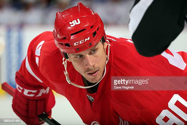 Stephen Weiss of the Detroit Red Wings gets set for the faceoff during an NHL game against the New York Rangers at Joe Louis Arena on October 26 2013...