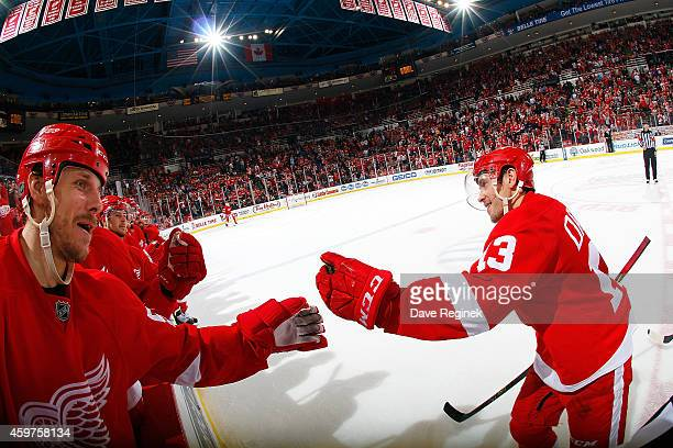 Stephen Weiss of the Detroit Red Wings reaches out from the bench to congratulate Pavel Datsyuk after scoring an empty net goal during an NHL game...