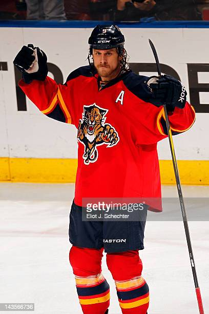 Stephen Weiss of the Florida Panthers celebrates his goal against the New Jersey Devils in Game Seven of the Eastern Conference Quarterfinals during...