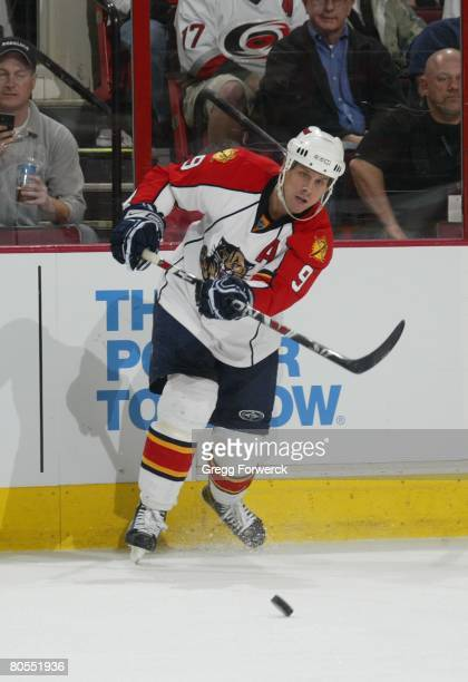 Stephen Weiss of the Florida Panthers passes the puck during their NHL game against the Carolina Hurricanes on April 4, 2008 at RBC Center in...