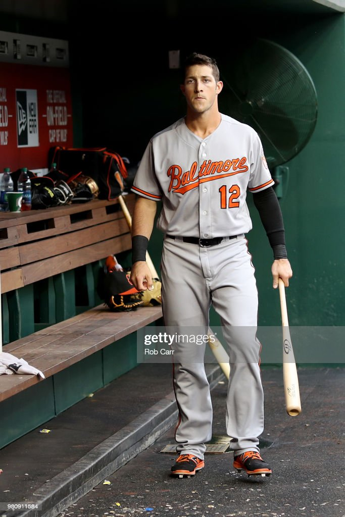 Stephen Wilkerson #12 of the Baltimore Orioles walks in the dugout before the start of the Orioles and Washington Nationals game at Nationals Park on June 21, 2018 in Washington, DC.