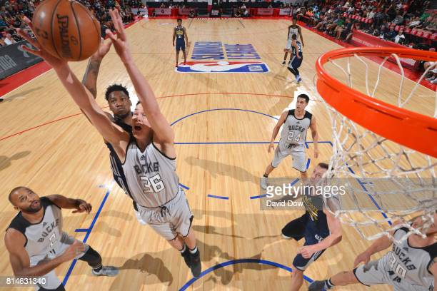 Stephen Zimmerman of the Milwaukee Bucks shoots the ball against the Utah Jazz during the 2017 Summer League on July 14 2017 at Cox Pavillion in Las...