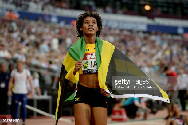 Stephenie Ann McPherson of Jamaica celebrates victory in the Women's 400m during day one of the Athletics World Cup London at the London Stadium on...