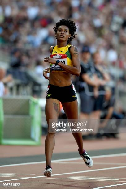Stephenie Ann McPherson of Jamaica crosses the line to win the Women's 400m during day one of the Athletics World Cup London at the London Stadium on...