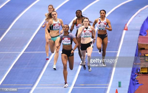 Stephenie Ann Mcpherson of Jamaica wins the Women's 400 Metres final during the Muller Indoor Grand Prix IAAF World Indoor Tour event at Arena...