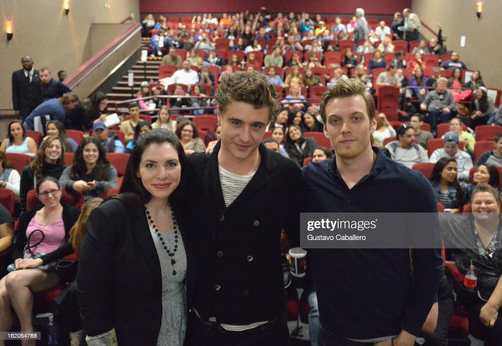 Stephenie Meyer, Max Irons and Jake Abel attend 'The Host' Miami Q&A Screening at AMC Sunset Place on February 18, 2013 in Miami, Florida.