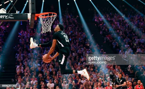Stephens competes during the slam dunk contest of the All Star Game basketball game of the French National Basketball League between a selection of...