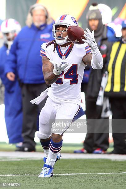 Stephon Gilmore of the Buffalo Bills intercepts a pass during the second quarter of the game against the Cincinnati Bengals at Paul Brown Stadium on...