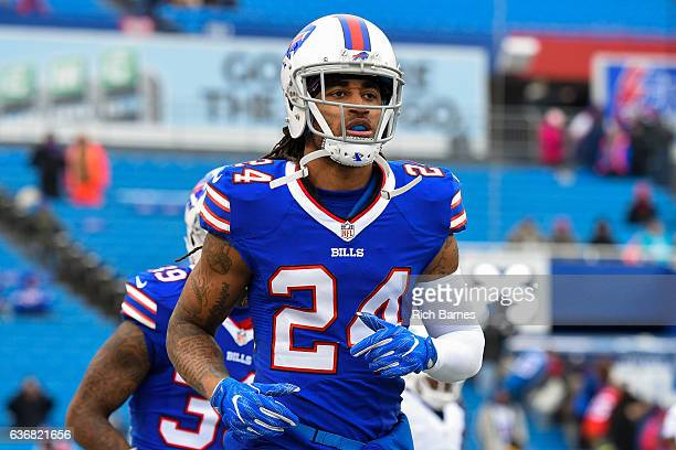 Stephon Gilmore of the Buffalo Bills jogs on the field prior to the game against the Miami Dolphins at New Era Field on December 24 2016 in Orchard...