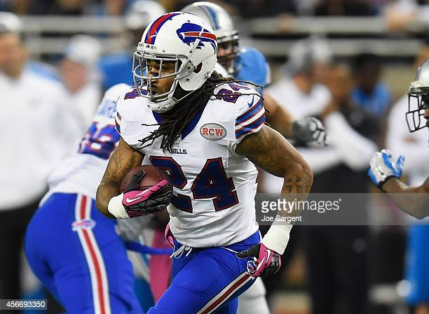 Stephon Gilmore of the Buffalo Bills looks for a opening up field in the second quarter while playing the Detroit Lions at Ford Field on October 05...