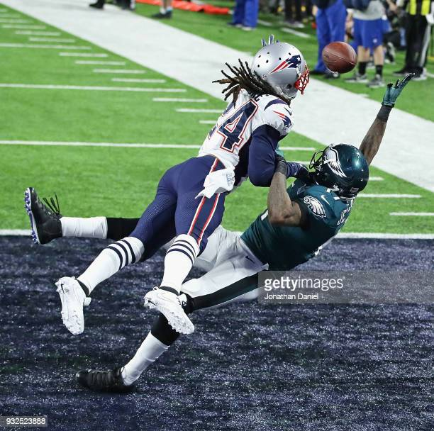 Stephon Gilmore of the New England Patriots breaks up a pass intended for Alshon Jeffery of the Philadelphia Eagles during Super Bowl Lll at US Bank...