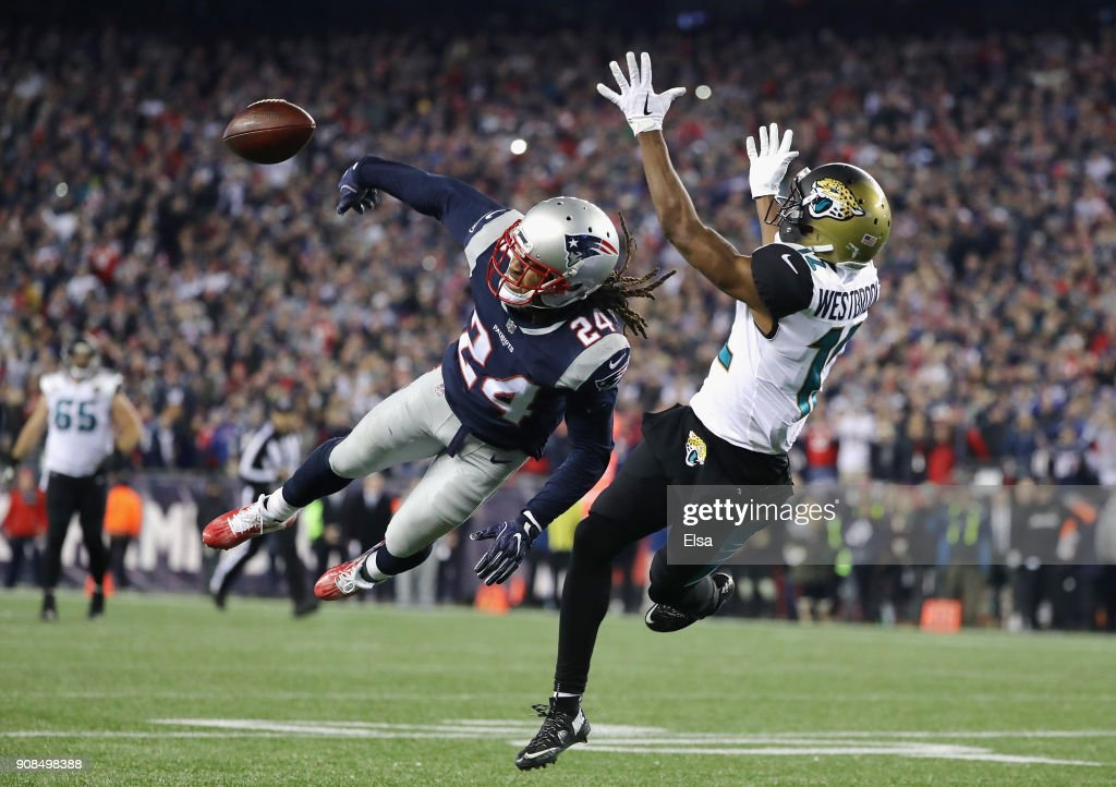 Stephon Gilmore #24 of the New England Patriots deflects a pass intended for Dede Westbrook #12 of the Jacksonville Jaguars in the fouorth quarter during the AFC Championship Game at Gillette Stadium on January 21, 2018 in Foxborough, Massachusetts.