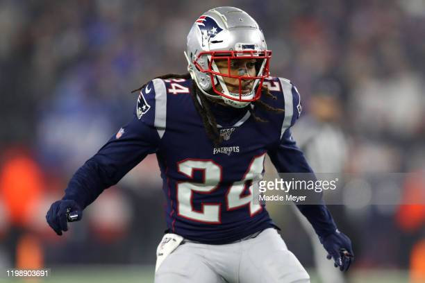 Stephon Gilmore of the New England Patriots lines up during the AFC Wild Card Playoff game against the Tennessee Titans at Gillette Stadium on...