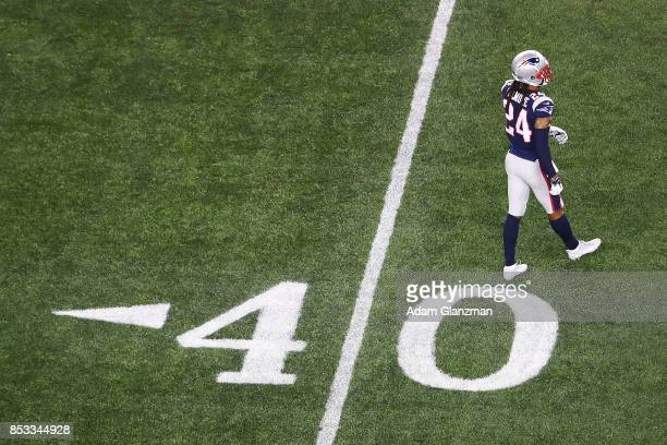 Stephon Gilmore of the New England Patriots warms up before the game against the Kansas City Chiefs at Gillette Stadium on September 7 2017 in...