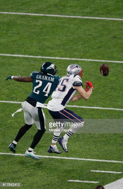 Stephon Gilmore of the Philadelphia Eagles breaks up a pass to Chris Hogan of the New England Patriots in Super Bowl LII at US Bank Stadium on...