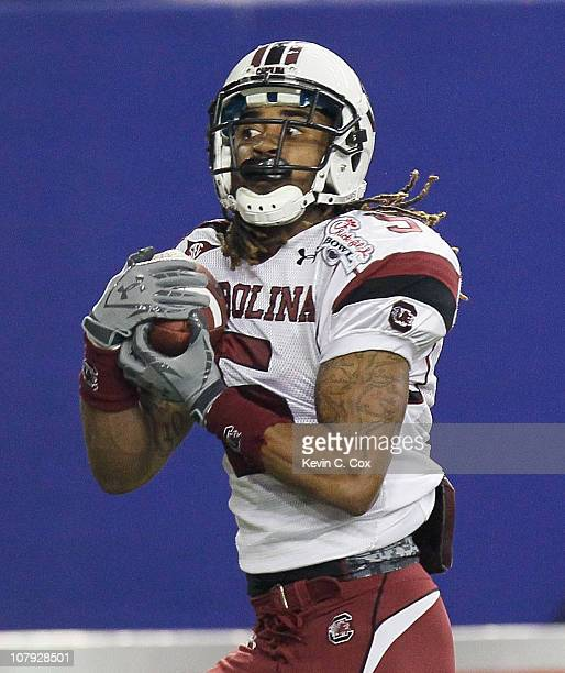 Stephon Gilmore of the South Carolina Gamecocks against the Florida State Seminoles during the 2010 ChickfilA Bowl at Georgia Dome on December 31...