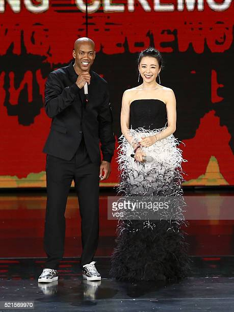 Stephon Marbury and actress Zhang Jingchu attend the opening ceremony of the 6th Beijing International Film Festival on April 16 2016 in Beijing China