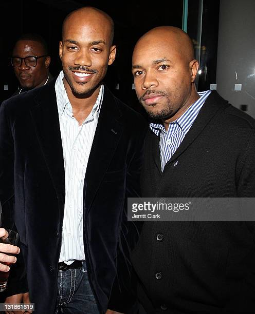 Stephon Marbury and DJ DNice attend a Hennessey Black party to celebrate DJ DNice signing to Roc Nation DJ's at The Cooper Square Hotel on November...