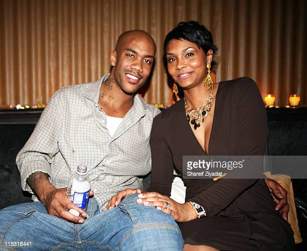 Stephon Marbury and LaTasha Marbury during Party at Manor for Stephon Marbury of the New York Knicks at Manor in New York New York United States