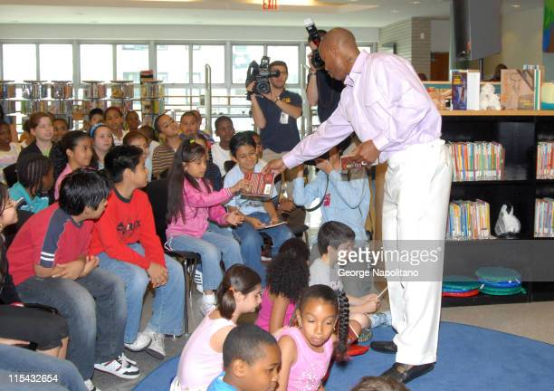 Stephon Marbury at the Brooklyn Public Library to annouce his gift of $10000 for the FREE Summer Reading program