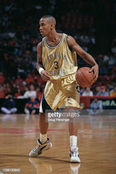 Stephon Marbury, Guard for the Georgia Tech Yellow Jackets during the NCAA Atlantic Coast Conference college basketball game against the University...