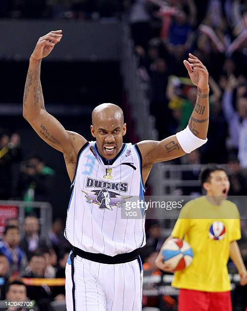 Stephon Marbury of Beiing Ducks celebrates after the 2011/2012 CBA Final Game 4 against Guangdong Southern Tigers at MasterCard Center on March 28...