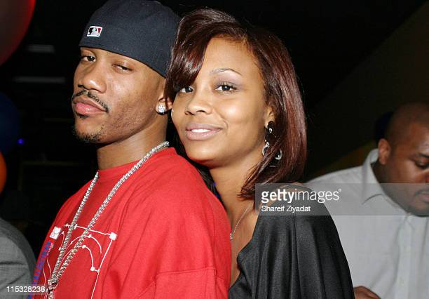 Stephon Marbury of the New York Knicks and wife during New York Knicks Stephon Marbury's Birthday Party at Boulavard in New York City New York United...
