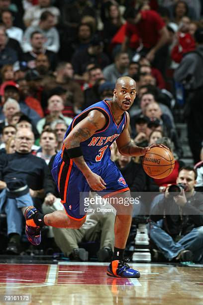 Stephon Marbury of the New York Knicks bringes the ball upcourt during the game against the Chicago Bulls on January 8, 2008 at the United Center in...