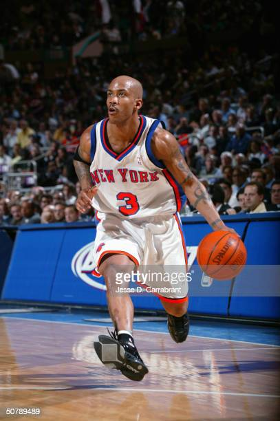 Stephon Marbury of the New York Knicks drives against the New Jersey Nets in Game three of the Eastern Conference Quarterfinals during the 2004 NBA...